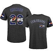 Majestic Threads Men's Colorado Rockies Nolan Arenado Flag Black T- Shirt