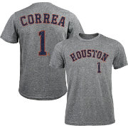 Majestic Threads Men's Houston Astros Carlos Correa #1 Grey Tri-Blend T-Shirt