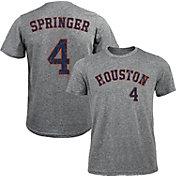 Majestic Threads Men's Houston Astros George Springer #4 Grey Tri-Blend T-Shirt