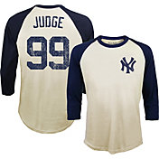 Majestic Threads Men's New York Yankees Aaron Judge Raglan Three-Quarter Shirt