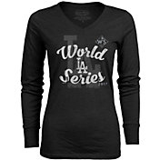 Majestic Threads Women's 2017 World Series Los Angeles Dodgers Black Long Sleeve V-Neck Shirt