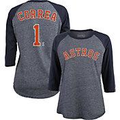 Majestic Threads Women's Houston Astros Carlos Correa #1 Raglan Navy Three-Quarter Sleeve Shirt