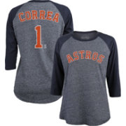 Majestic Threads Women's Houston Astros Carlos Correa #1 Raglan Navy Three-Quarter Sleeve Shirt