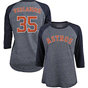 Majestic Threads Women's Houston Astros Justin Verlander #35 Raglan Navy Three-Quarter Sleeve Shirt