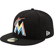 New Era Men's Miami Marlins 59Fifty Home Black Authentic Hat