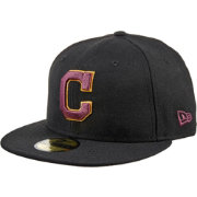 New Era Men's Cleveland Indians 59Fifty City Pride Black/Burgundy/Gold Fitted Hat