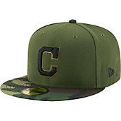 New Era Men's Cleveland Indians 59Fifty 2017 Memorial Day Camo Authentic Hat