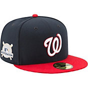 New Era Men's Washington Nationals 59Fifty 2017 MLB Postseason Navy/Red Authentic Hat