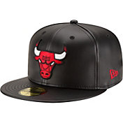 New Era Men's Chicago Bulls 59Fifty Black Faux Leather Fitted Hat