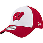 New Era Men's Wisconsin Badgers White/Red The League Blocked 9FORTY Adjustable Hat