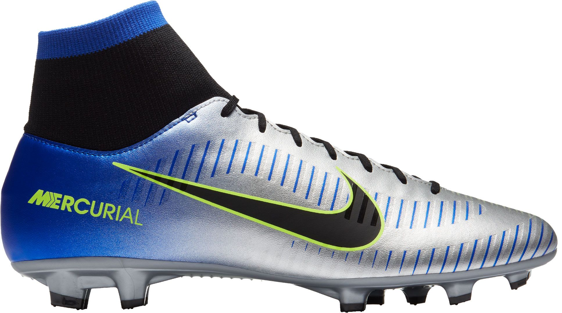 Product Image · Nike Mercurial Victory VI Dynamic Fit NJR FG Soccer Cleats  · Silver/Blue
