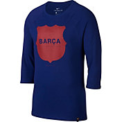 Nike Men's FC Barcelona Three-Quarter Length Sleeve Raglan Squad Blue Tee