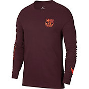 Nike Men's Barcelona Squad Long Sleeve Maroon Tee