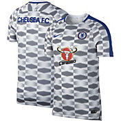 Nike Men's Chelsea FC Grey and White Prematch Training Top