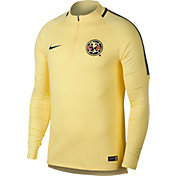 Nike Men's Club America Squad Drill Dry Yellow Quarter-Zip Top