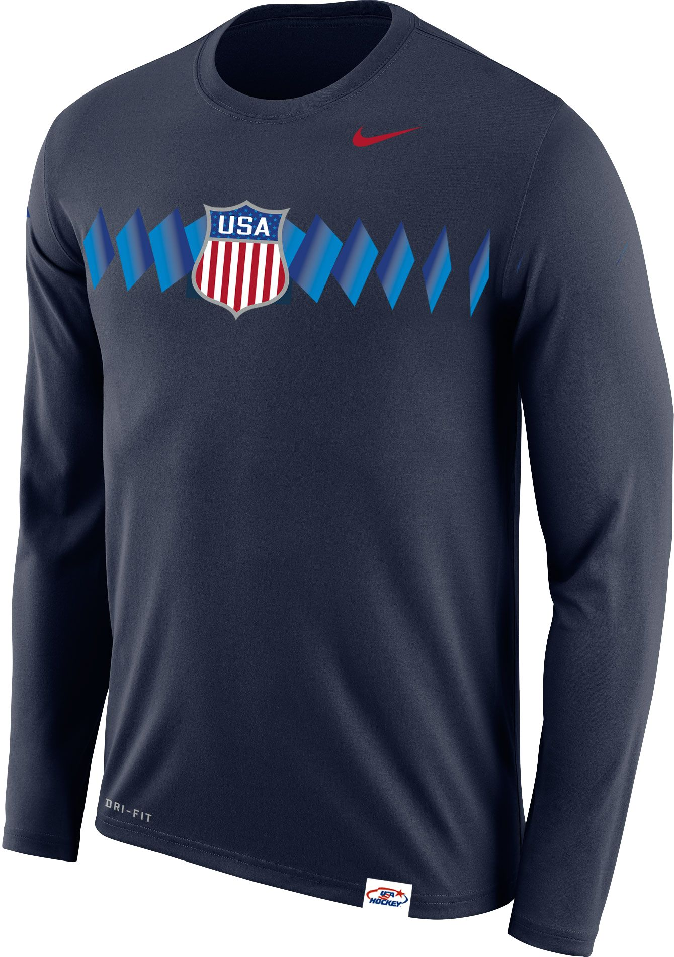 Nike Men's USA Hockey Legion Crest Navy Long Sleeve Shirt | DICK'S ...