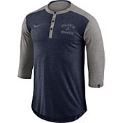 Nike Men's Atlanta Braves Dri-FIT Three-Quarter Sleeve Henley Shirt