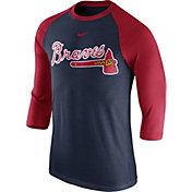 Nike Men's Atlanta Braves Navy Raglan Three-Quarter Sleeve Shirt