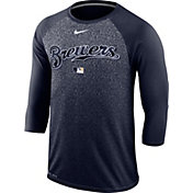 Nike Men's Milwaukee Brewers Dri-FIT Authentic Collection Legend Three-Quarter Sleeve Shirt