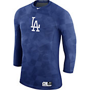 Nike Men's Los Angeles Dodgers Hypercool Authentic Collection Royal Performance Three-Quarter Shirt
