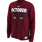 "Nike Men's Cleveland Indians 2017 MLB Postseason Dri-FIT Authentic Collection ""October Ready"" Red Long Sleeve Shirt"