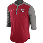 Nike Men's Washington Nationals Dri-FIT Red Three-Quarter Sleeve Henley Shirt