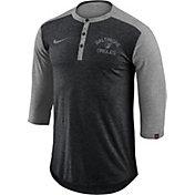 Nike Men's Baltimore Orioles Dri-FIT Three-Quarter Sleeve Henley Shirt