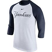 Nike Men's New York Yankees White Raglan Three-Quarter Sleeve Shirt
