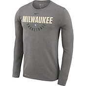 Nike Men's Milwaukee Bucks Dri-FIT Grey Practice Long Sleeve Shirt