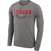Nike Men's Chicago Bulls Dri-FIT Grey Practice Long Sleeve Shirt