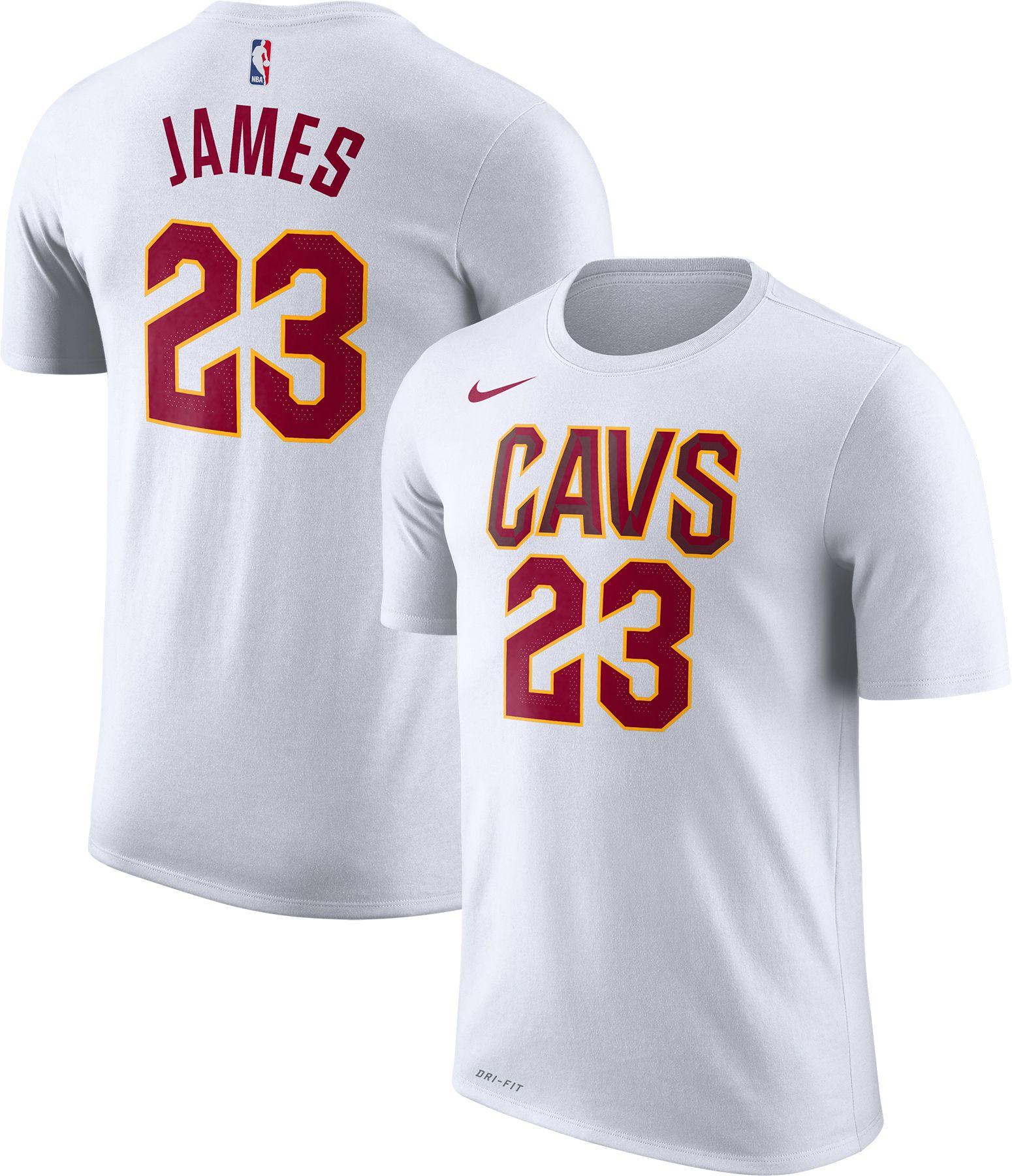 Nike Men's Cleveland Cavaliers LeBron James #23 Dri-FIT White T-Shirt |  DICK'S Sporting Goods