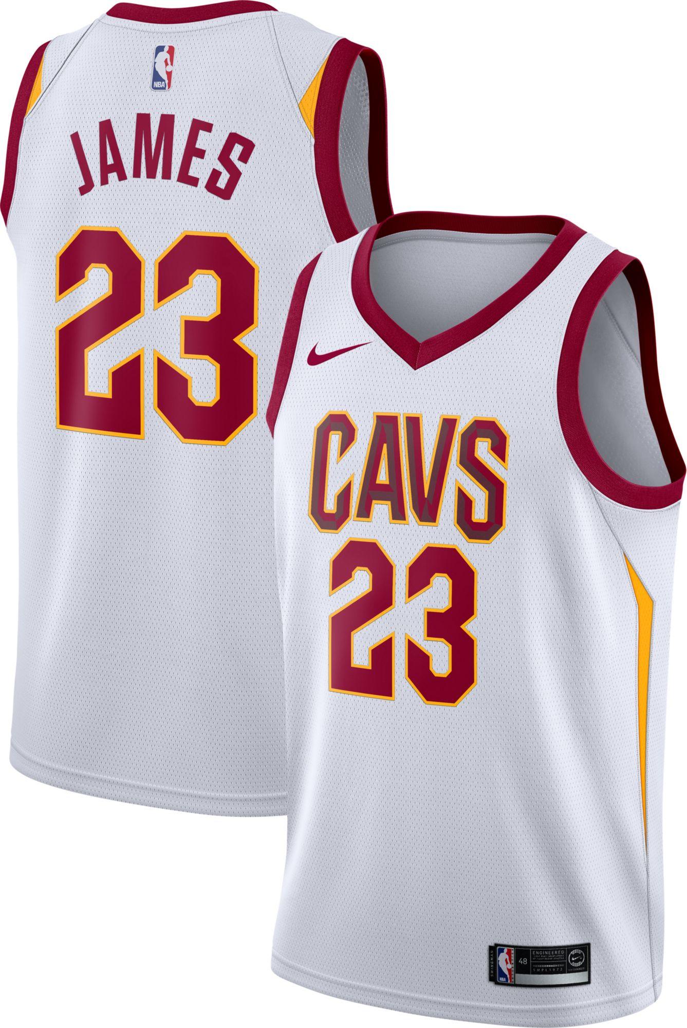 Nike Men's Cleveland Cavaliers LeBron James #23 White Dri-FIT Swingman  Jersey | DICK'S Sporting Goods