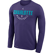 Jordan Men's Charlotte Hornets Dri-FIT Purple Practice Long Sleeve Shirt