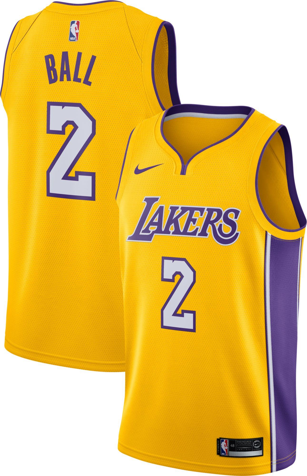Nike Men\u0027s Los Angeles Lakers Lonzo Ball #2 Gold Dri-FIT Swingman Jersey