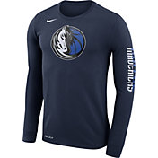 Nike Men's Dallas Mavericks Dri-FIT Navy Logo Long Sleeve Shirt