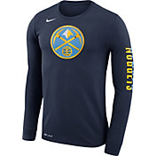 Nike Men's Denver Nuggets Dri-FIT Navy Logo Long Sleeve Shirt