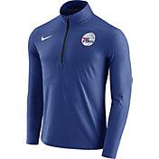 Nike Men's Philadelphia 76ers Dri-FIT Royal Element Half-Zip Pullover