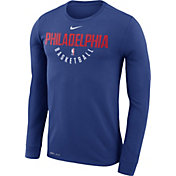Nike Men's Philadelphia 76ers Dri-FIT Royal Practice Long Sleeve Shirt