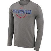 Nike Men's Philadelphia 76ers Dri-FIT Grey Practice Long Sleeve Shirt