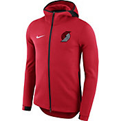 Nike Men's Portland Trail Blazers On-Court Red Dri-FIT Showtime Full-Zip Hoodie