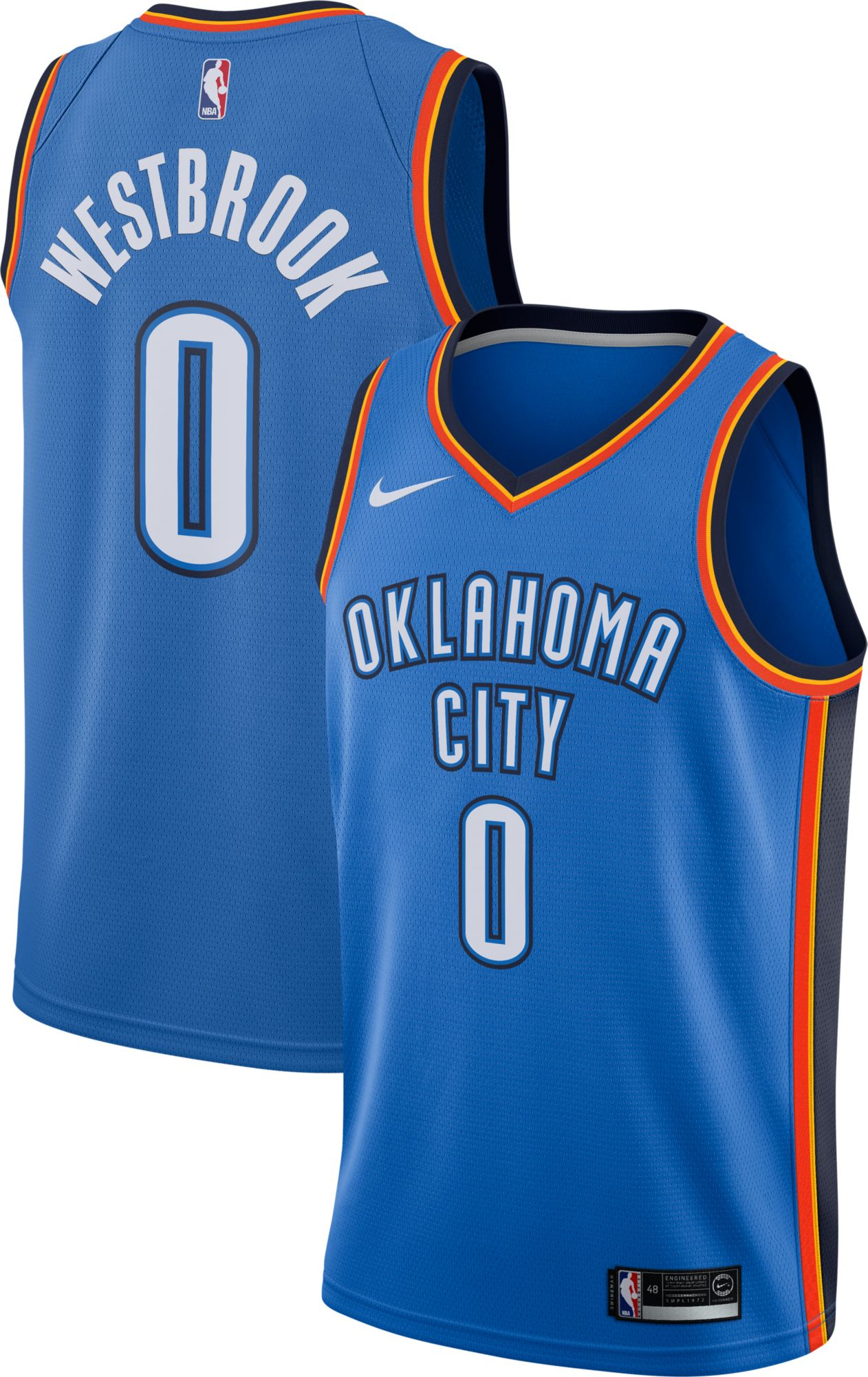 Nike Men's Oklahoma City Thunder Russell Westbrook #0 Blue Dri-FIT Swingman  Jersey | DICK'S Sporting Goods