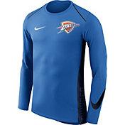 Nike Men's Oklahoma City Thunder Dri-FIT Hyper Elite Blue Long Sleeve Shirt