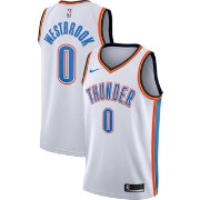 Nike Men's Oklahoma City Thunder Russell Westbrook #0 White Dri-FIT Swingman Jersey