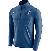 Nike Men's Minnesota Timberwolves Dri-FIT Blue Element Half-Zip Pullover