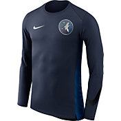 Nike Men's Minnesota Timberwolves Dri-FIT Hyper Elite Navy Long Sleeve Shirt