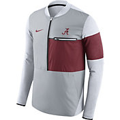 Nike Men's Alabama Crimson Tide Grey/Crimson Shield Hybrid Football Sideline Jacket