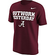 Nike Men's Alabama Crimson Tide Crimson 'Outwork Yesterday' Football Mantra T-Shirt
