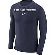 Nike Men's BYU Cougars Blue Marled Dri-FIT Long Sleeve Shirt