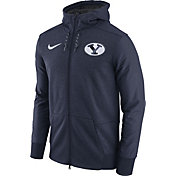Nike Men's BYU Cougars Heathered Blue Football Travel Full-Zip Hoodie