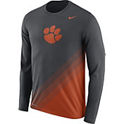 Nike Men's Clemson Tigers Anthracite/Orange Football Sideline Dri-FIT Long Sleeve Shirt